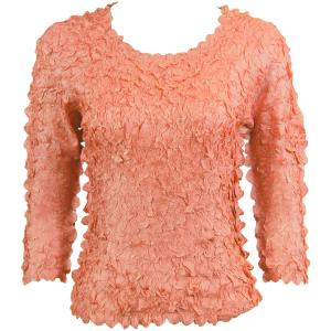 wholesale Petal Shirts - Three Quarter Sleeve Solid Coral Pink - One Size (S-XL)