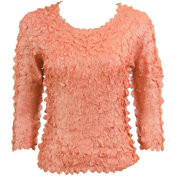 wholesale Petal Shirts - Three Quarter Sleeve Solid Coral Pink - Queen Size Fits (XL-3X)