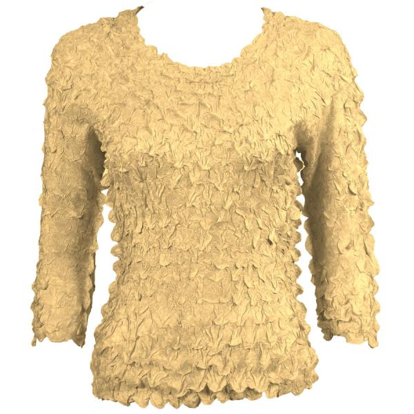 wholesale Petal Shirts - Three Quarter Sleeve Solid Light Gold - Queen Size Fits (XL-3X)