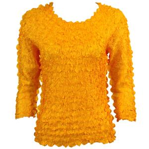 wholesale Petal Shirts - Three Quarter Sleeve Solid Yellow - Queen Size Fits (XL-3X)