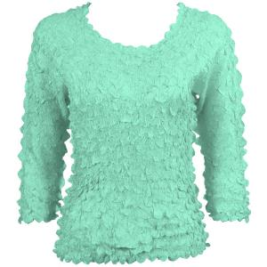 wholesale Petal Shirts - Three Quarter Sleeve Solid Light Turquoise - Queen Size Fits (XL-3X)