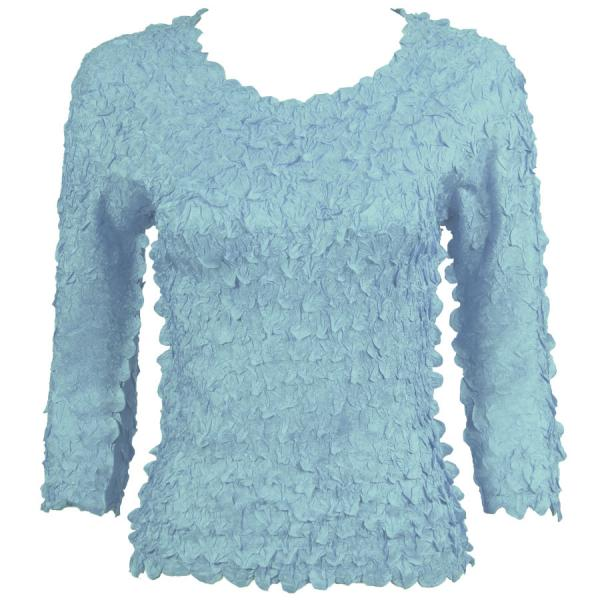 wholesale Petal Shirts - Three Quarter Sleeve Solid Azure - Queen Size Fits (XL-3X)