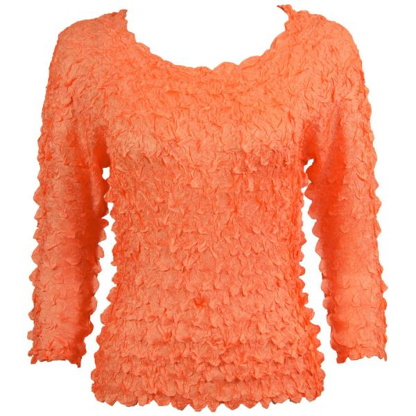wholesale Petal Shirts - Three Quarter Sleeve Solid Tangerine - One Size (S-XL)