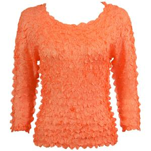 wholesale Petal Shirts - Three Quarter Sleeve Solid Tangerine - Queen Size Fits (XL-3X)