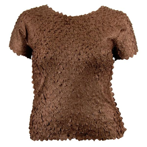 wholesale Petal Shirts - Queen Cap Sleeve Solid Brown - Queen Size Fits (XL-3X)