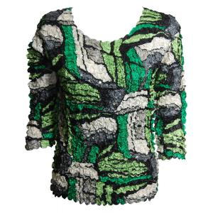 Wholesale  Green Abstract Petal Top with Sequins - Three Quarter Sleeve - Queen Size Fits (XL-3X)