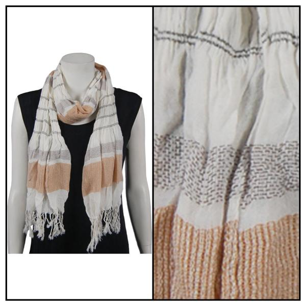 wholesale Oblong Scarves - Striped Ruched 028 Tan -