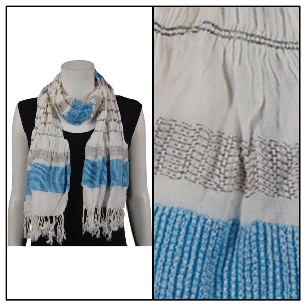 wholesale Oblong Scarves - Striped Ruched 028 Light Blue -