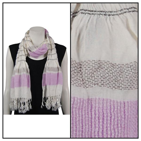 wholesale Oblong Scarves - Striped Ruched 028 Light Purple -