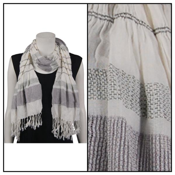 wholesale Oblong Scarves - Striped Ruched 028 Grey -