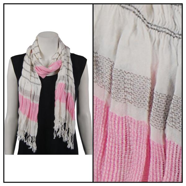 wholesale Oblong Scarves - Striped Ruched 028 Pink -