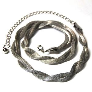 wholesale Belts - Metal & Chain* Mesh Twist - Silver -