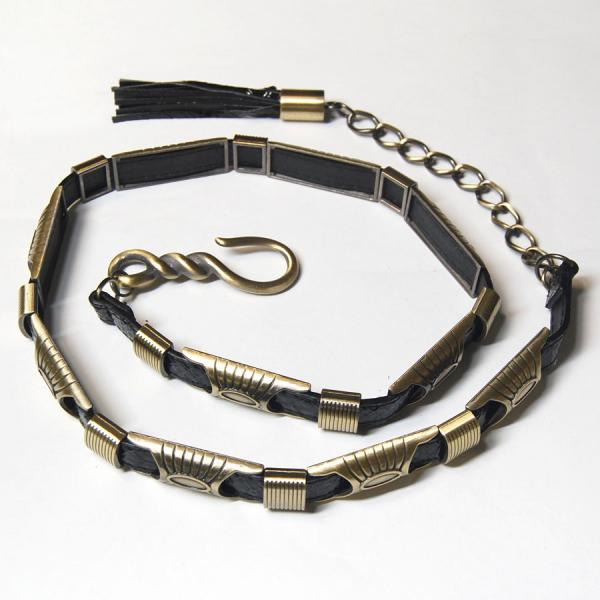 Belts - Metal & Chain* 9048 - Black Belt - Metal & Chain -