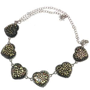 wholesale Belts - Metal & Chain* Leopard Print Hearts -