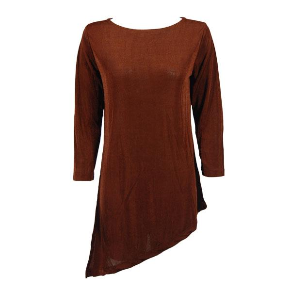 wholesale Slinky Travel Tops - Asymmetric Tunic* Brown - Plus Size Fits (XL-2X)