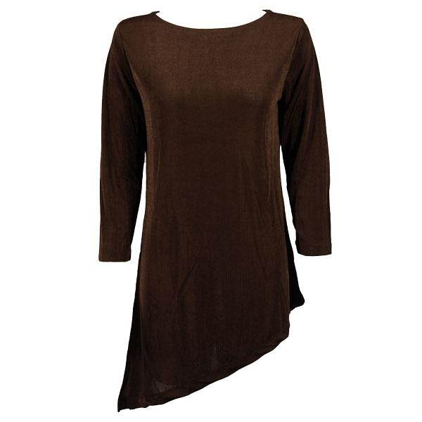 wholesale Slinky Travel Tops - Asymmetric Tunic* Dark Brown - Plus Size Fits (XL-2X)