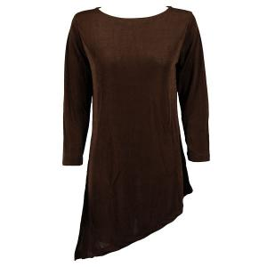 Slinky Travel Tops - Asymmetric Tunic* Dark Brown - One Size (S-L)