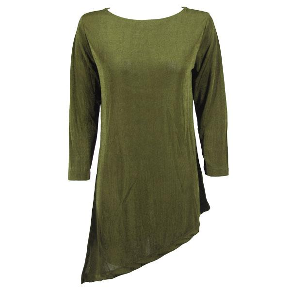 wholesale Slinky Travel Tops - Asymmetric Tunic* Olive - Plus Size Fits (XL-2X)