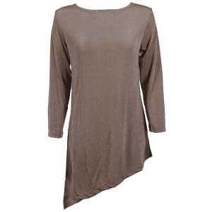 Slinky Travel Tops - Asymmetric Tunic* Taupe - Plus Size Fits (XL-2X)