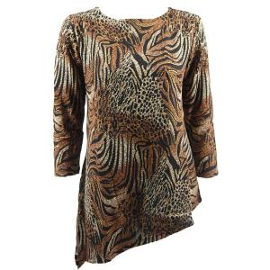 Slinky Travel Tops - Asymmetric Tunic* Animal Print with Brown and Gold Accent - One Size (S-L)