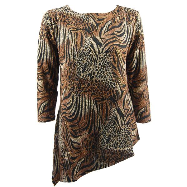 wholesale Slinky Travel Tops - Asymmetric Tunic* Animal Print with Brown and Gold Accent - One Size Fits (S-L)