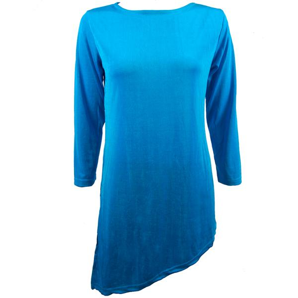 wholesale Slinky Travel Tops - Asymmetric Tunic* Turquoise - Plus Size Fits (XL-2X)