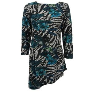 Slinky Travel Tops - Asymmetric Tunic* Zebra Floral - Teal - One Size (S-L)