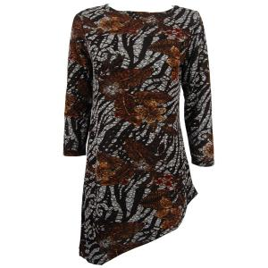 Slinky Travel Tops - Asymmetric Tunic* Zebra Floral - Brown - One Size (S-L)