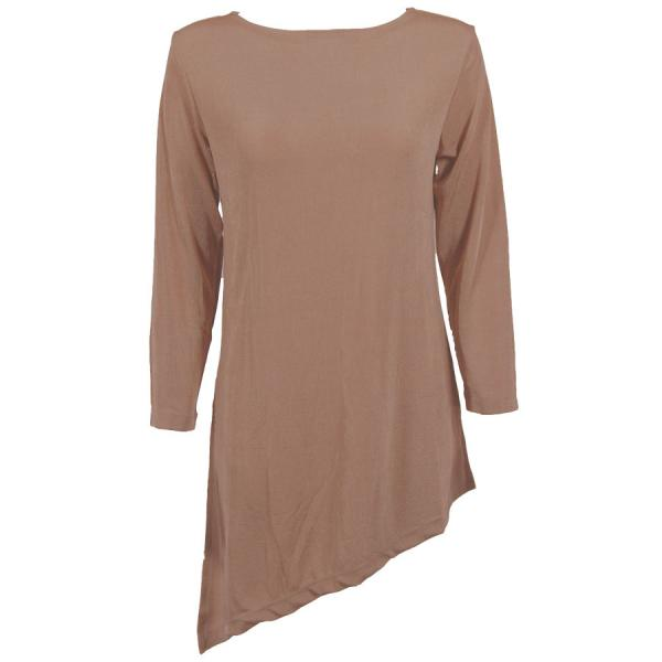 wholesale Slinky Travel Tops - Asymmetric Tunic* Nutmeg - One Size Fits  (S-L)