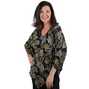 Wholesale  Leaves and Paisley Gold/Silver Slinky Weave Poncho -