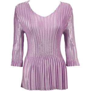 Wholesale  Solid Dusty Purple Satin Mini Pleat - Three Quarter Sleeve V-Neck - One Size (S-XL)