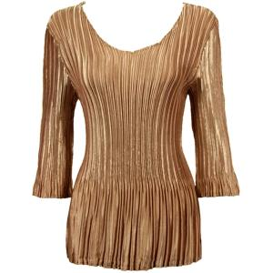 Wholesale  Solid Gold Satin Mini Pleat - Three Quarter Sleeve V-Neck - One Size (S-XL)
