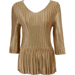 Wholesale  Solid Light Gold Satin Mini Pleat - Three Quarter Sleeve V-Neck - One Size (S-XL)