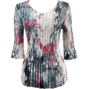 Wholesale  White-Black-Pink Floral * Satin Mini Pleat - Three Quarter Sleeve V-Neck - One Size (S-XL)