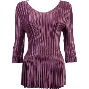 Wholesale  Solid Eggplant Satin Mini Pleat - Three Quarter Sleeve V-Neck - One Size (S-XL)