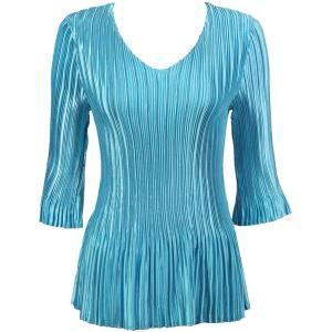 Wholesale  Solid Aqua Satin Mini Pleat - Three Quarter Sleeve V-Neck - One Size (S-XL)