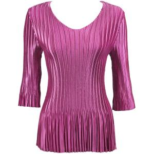 Wholesale  Solid Orchid Satin Mini Pleat - Three Quarter Sleeve V-Neck - One Size (S-XL)