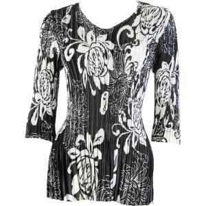 Wholesale  Abstract Flowers Black-White Satin Mini Pleat - Three Quarter Sleeve V-Neck - One Size (S-XL)