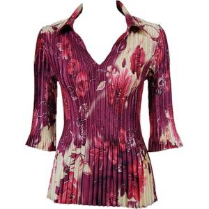 Wholesale  Rose Floral - Berry Satin Mini Pleats - Three Quarter Sleeve w/ Collar - One Size (S-XL)