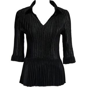 Wholesale  Solid Black Satin Mini Pleats - Three Quarter Sleeve w/ Collar - One Size (S-XL)