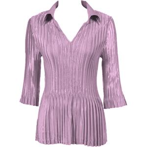 Wholesale  Solid Dusty Purple Satin Mini Pleats - Three Quarter Sleeve w/ Collar - One Size (S-XL)