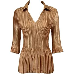 Wholesale  Solid Gold Satin Mini Pleats - Three Quarter Sleeve w/ Collar - One Size (S-XL)