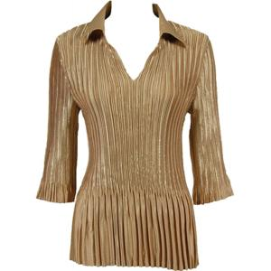 Wholesale  Solid Light Gold Satin Mini Pleats - Three Quarter Sleeve w/ Collar - One Size (S-XL)