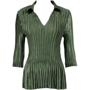Wholesale  Solid Olive Satin Mini Pleats - Three Quarter Sleeve w/ Collar - One Size (S-XL)