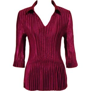 Wholesale  Solid Ruby Satin Mini Pleats - Three Quarter Sleeve w/ Collar - One Size (S-XL)