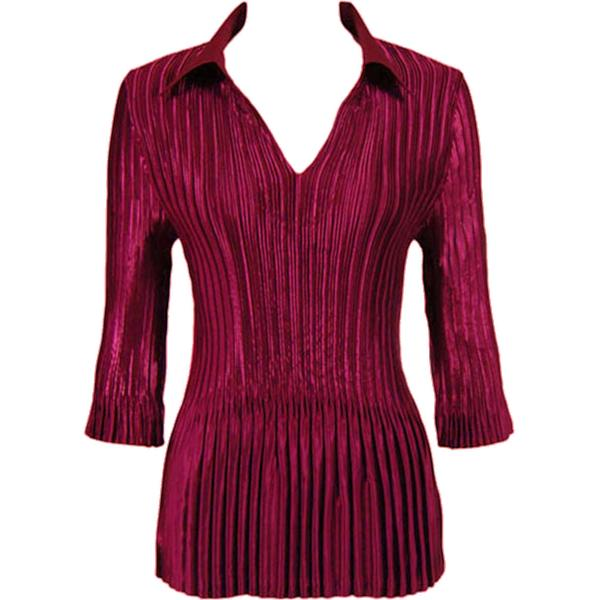 Satin Mini Pleats - Three Quarter Sleeve w/ Collar Solid Ruby Satin Mini Pleats - Three Quarter Sleeve w/ Collar - One Size (S-XL)