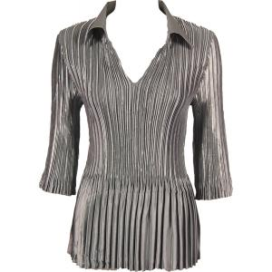 Wholesale  Solid Charcoal Satin Mini Pleats - Three Quarter Sleeve w/ Collar - One Size (S-XL)