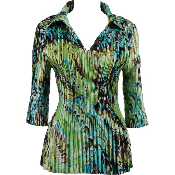 Satin Mini Pleats - Three Quarter Sleeve w/ Collar Lime-Aqua Peacock Satin Mini Pleats - Three Quarter Sleeve w/ Collar - One Size (S-XL)
