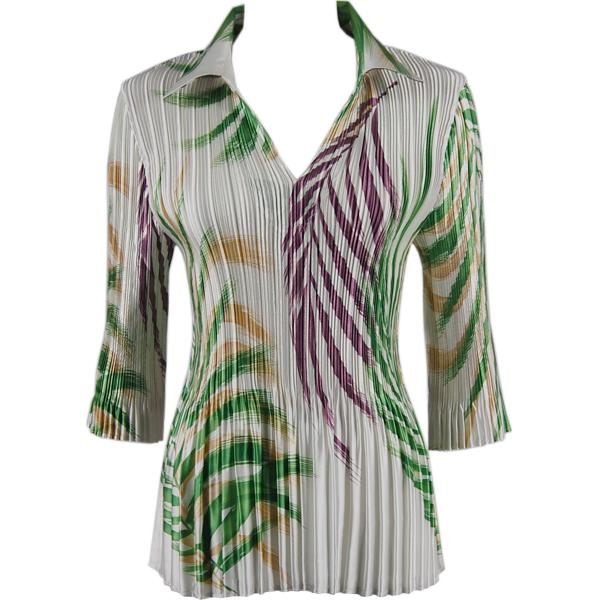 Satin Mini Pleats - Three Quarter Sleeve w/ Collar Palm Leaf Green-Purple Satin Mini Pleats - Three Quarter Sleeve w/ Collar - One Size (S-XL)