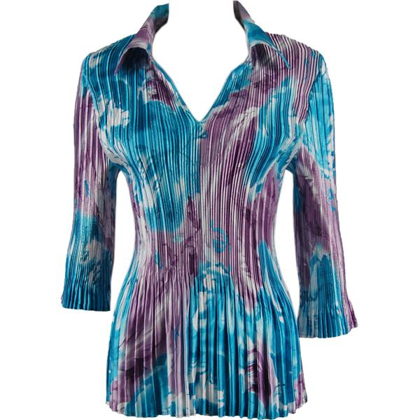 wholesale Satin Mini Pleats - Three Quarter Sleeve w/ Collar Turquoise-Purple Watercolors Satin Mini Pleats - Three Quarter Sleeve w/ Collar - One Size (S-XL)